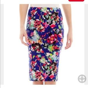 nicole by Nicole Miller Floral Print Pencil Skirt